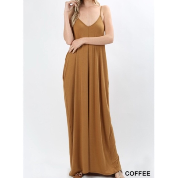 723495819045 Dresses   Skirts - Long Maxi Dress in COFFEE